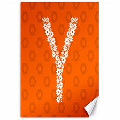 Iron Orange Y Combinator Gears Canvas 20  X 30   by Mariart