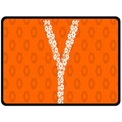 Iron Orange Y Combinator Gears Double Sided Fleece Blanket (large)  by Mariart