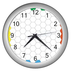 Hex Grid Plaid Green Yellow Blue Orange White Wall Clocks (silver)  by Mariart