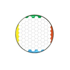 Hex Grid Plaid Green Yellow Blue Orange White Hat Clip Ball Marker (10 Pack)