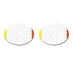 Hex Grid Plaid Green Yellow Blue Orange White Cufflinks (oval) by Mariart