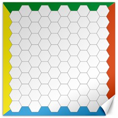 Hex Grid Plaid Green Yellow Blue Orange White Canvas 16  X 16   by Mariart