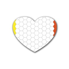 Hex Grid Plaid Green Yellow Blue Orange White Rubber Coaster (heart)  by Mariart
