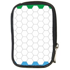 Hex Grid Plaid Green Yellow Blue Orange White Compact Camera Cases by Mariart