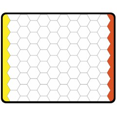 Hex Grid Plaid Green Yellow Blue Orange White Fleece Blanket (medium)  by Mariart