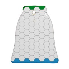 Hex Grid Plaid Green Yellow Blue Orange White Ornament (bell) by Mariart