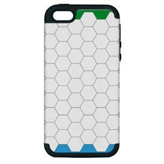 Hex Grid Plaid Green Yellow Blue Orange White Apple Iphone 5 Hardshell Case (pc+silicone) by Mariart