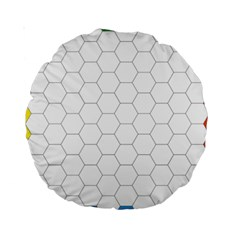 Hex Grid Plaid Green Yellow Blue Orange White Standard 15  Premium Round Cushions by Mariart