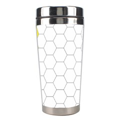 Hex Grid Plaid Green Yellow Blue Orange White Stainless Steel Travel Tumblers by Mariart