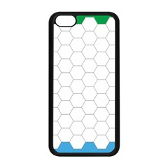 Hex Grid Plaid Green Yellow Blue Orange White Apple Iphone 5c Seamless Case (black) by Mariart