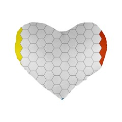 Hex Grid Plaid Green Yellow Blue Orange White Standard 16  Premium Flano Heart Shape Cushions by Mariart