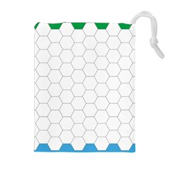 Hex Grid Plaid Green Yellow Blue Orange White Drawstring Pouches (extra Large) by Mariart