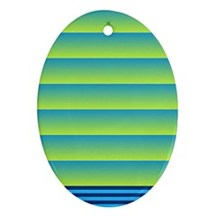 Line Horizontal Green Blue Yellow Light Wave Chevron Ornament (oval) by Mariart