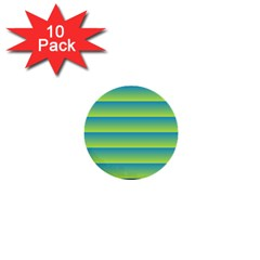 Line Horizontal Green Blue Yellow Light Wave Chevron 1  Mini Buttons (10 Pack)  by Mariart