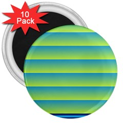 Line Horizontal Green Blue Yellow Light Wave Chevron 3  Magnets (10 Pack)  by Mariart