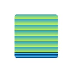 Line Horizontal Green Blue Yellow Light Wave Chevron Square Magnet by Mariart