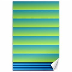 Line Horizontal Green Blue Yellow Light Wave Chevron Canvas 24  X 36  by Mariart