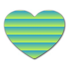Line Horizontal Green Blue Yellow Light Wave Chevron Heart Mousepads by Mariart