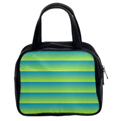 Line Horizontal Green Blue Yellow Light Wave Chevron Classic Handbags (2 Sides) by Mariart
