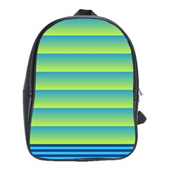 Line Horizontal Green Blue Yellow Light Wave Chevron School Bags(large)  by Mariart