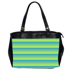 Line Horizontal Green Blue Yellow Light Wave Chevron Office Handbags (2 Sides)  by Mariart