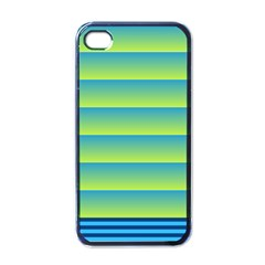 Line Horizontal Green Blue Yellow Light Wave Chevron Apple Iphone 4 Case (black) by Mariart