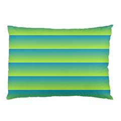 Line Horizontal Green Blue Yellow Light Wave Chevron Pillow Case (two Sides) by Mariart