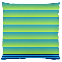 Line Horizontal Green Blue Yellow Light Wave Chevron Large Flano Cushion Case (one Side) by Mariart
