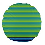 Line Horizontal Green Blue Yellow Light Wave Chevron Large 18  Premium Flano Round Cushions Front