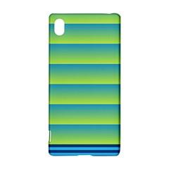 Line Horizontal Green Blue Yellow Light Wave Chevron Sony Xperia Z3+ by Mariart