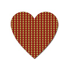 Hawthorn Sharkstooth Triangle Green Red Full Heart Magnet by Mariart