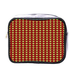 Hawthorn Sharkstooth Triangle Green Red Full Mini Toiletries Bags by Mariart