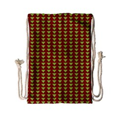 Hawthorn Sharkstooth Triangle Green Red Full Drawstring Bag (small) by Mariart