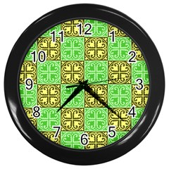 Clipart Aztec Green Yellow Wall Clocks (black) by Mariart
