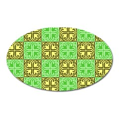 Clipart Aztec Green Yellow Oval Magnet by Mariart