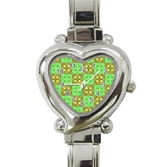 Clipart Aztec Green Yellow Heart Italian Charm Watch by Mariart