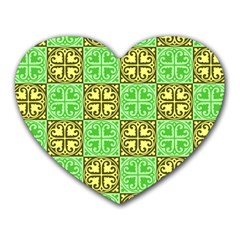 Clipart Aztec Green Yellow Heart Mousepads by Mariart