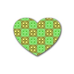 Clipart Aztec Green Yellow Rubber Coaster (heart)  by Mariart