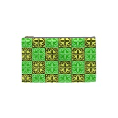 Clipart Aztec Green Yellow Cosmetic Bag (small)  by Mariart