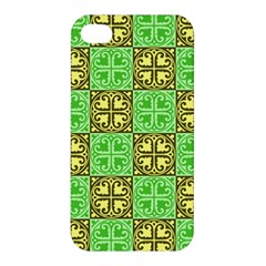 Clipart Aztec Green Yellow Apple Iphone 4/4s Premium Hardshell Case by Mariart