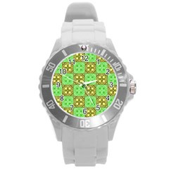 Clipart Aztec Green Yellow Round Plastic Sport Watch (l) by Mariart