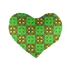 Clipart Aztec Green Yellow Standard 16  Premium Flano Heart Shape Cushions by Mariart