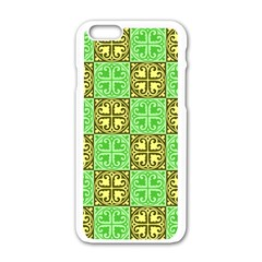 Clipart Aztec Green Yellow Apple Iphone 6/6s White Enamel Case by Mariart