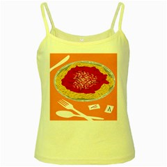 Instant Noodles Mie Sauce Tomato Red Orange Knife Fox Food Pasta Yellow Spaghetti Tank by Mariart