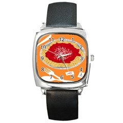 Instant Noodles Mie Sauce Tomato Red Orange Knife Fox Food Pasta Square Metal Watch by Mariart