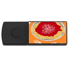 Instant Noodles Mie Sauce Tomato Red Orange Knife Fox Food Pasta Usb Flash Drive Rectangular (4 Gb) by Mariart