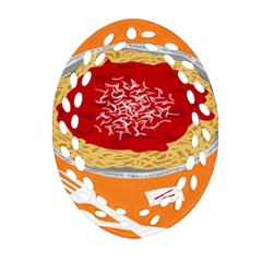 Instant Noodles Mie Sauce Tomato Red Orange Knife Fox Food Pasta Oval Filigree Ornament (two Sides) by Mariart