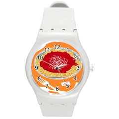 Instant Noodles Mie Sauce Tomato Red Orange Knife Fox Food Pasta Round Plastic Sport Watch (m) by Mariart