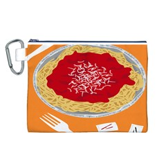Instant Noodles Mie Sauce Tomato Red Orange Knife Fox Food Pasta Canvas Cosmetic Bag (l) by Mariart