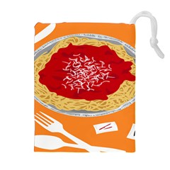 Instant Noodles Mie Sauce Tomato Red Orange Knife Fox Food Pasta Drawstring Pouches (extra Large) by Mariart
